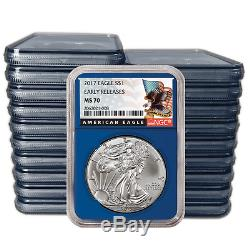 Lot of 500 2017 $1 American Silver Eagle NGC MS70 Early Releases Black ER Labe