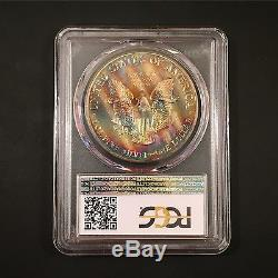 MS68 1987 $1 American Silver Eagle PCGS- Colorful Striped Toned