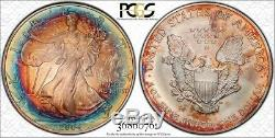 MS68 2004 $1 American Silver Eagle PCGS Secure- Mint Box Target Toned