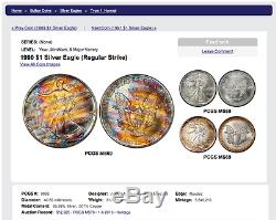 MS69 1990 $1 American Silver Eagle PCGS- Incredible Striped Monster Toning