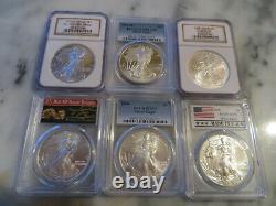 Millunimun set of 21 Silver American Eagles 2000 through 2020 All MS 70 / PF 70
