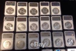 NGC Slab 1986-2014 American Silver Eagle 29 Coins MS69 + 2 NGC Cases