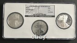 Nice 2006 American Silver Eagle 20th Anniversary Ngc 3 Coin Set Ms/pf/rev Pf 69