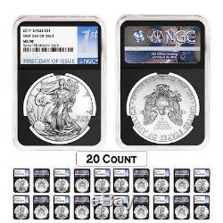 PRESALE Lot of 20 2017 1 oz Silver American Eagle $1 Coin NGC MS 70 First Da