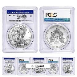 PRESALE Lot of 5 2017-W 1 oz Silver American Eagle $1 Coin PCGS MS 70 First