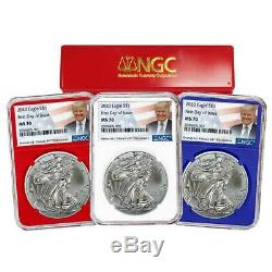 Presale 2020 $1 American Silver Eagle 3pc. Set NGC MS70 FDI Trump Label Red Wh