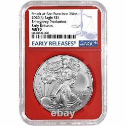 Presale 2020 (S) $1 American Silver Eagle 3 pc. Set NGC MS70 Blue ER Label Red