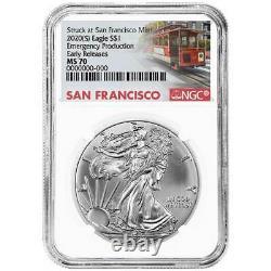 Presale 2020 (S) $1 American Silver Eagle 3pc. Set NGC MS70 Emergency Producti