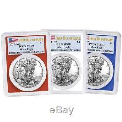 Presale 2020 (W) $1 American Silver Eagle 3 pc. Set PCGS MS70 FDOI Flag Label