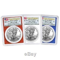 Presale 2020 (W) $1 American Silver Eagle 3 pc. Set PCGS MS70 FS Flag Label Re