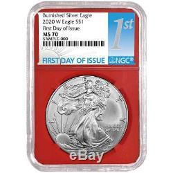 Presale 2020-W Burnished $1 American Silver Eagle NGC MS70 FDI First Label Red