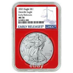 Presale 2021 $1 American Silver Eagle 3pc. Set NGC MS70 Blue ER Label Red Whit