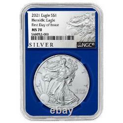 Presale 2021 $1 American Silver Eagle 3pc. Set NGC MS70 FDI ALS Label Red Whit