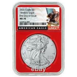Presale 2021 $1 American Silver Eagle 3pc. Set NGC MS70 FDI Black Label Red Wh