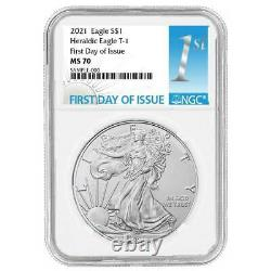 Presale 2021 $1 American Silver Eagle 3pc. Set NGC MS70 FDI First Label Red Wh