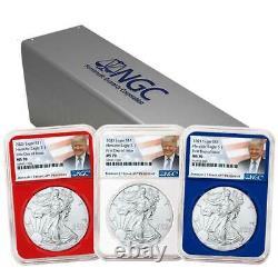 Presale 2021 $1 American Silver Eagle 3pc. Set NGC MS70 FDI Trump Label Red Wh