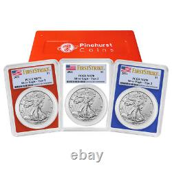 Presale 2021 $1 Type 2 American Silver Eagle 3 pc Set PCGS MS70 FS Flag Label