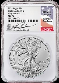 Presale 2021 $1 Type 2 American Silver Eagle NGC MS70 ER Gaudioso (ENGRAVER)