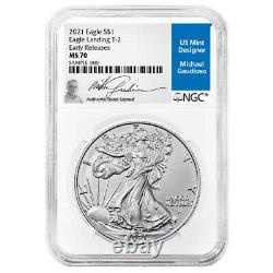 Presale 2021 $1 Type 2 American Silver Eagle NGC MS70 ER Michael Gaudioso Sign