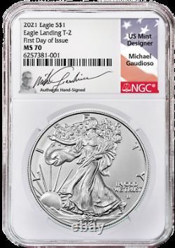 Presale 2021 $1 Type 2 American Silver Eagle NGC MS70 FDI Gaudioso (ENGRAVER)