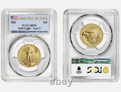 Presale 2021 American Gold Eagle 1/2 oz $25- PCGS MS70 First Day Issue Type 2
