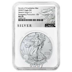 Presale 2021 (P) $1 American Silver Eagle NGC MS70 Emergency Production FDI AL