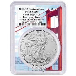 Presale 2021 (S) $1 American Silver Eagle PCGS MS70 Emergency Issue FDOI Golde