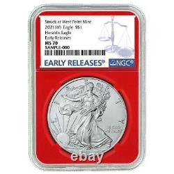Presale 2021 (W) $1 American Silver Eagle 3pc. Set NGC MS70 Blue ER Label Red