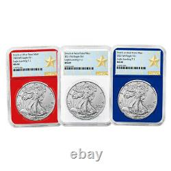 Presale 2021 (W) $1 Type 2 American Silver Eagle 3 pc Set NGC MS69 West Point