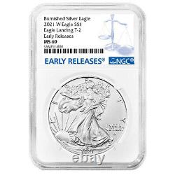 Presale 2021-W Burnished $1 Type 2 American Silver Eagle NGC MS69 ER Blue Labe
