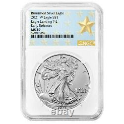 Presale 2021-W Burnished $1 Type 2 American Silver Eagle NGC MS70 ER West Poin