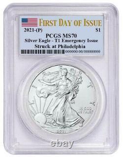 Presale 2021 (p) $1 American Silver Eagle Pcgs Ms70 Emergency Issue Fdoi