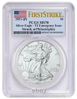 Presale 2021 (p) $1 American Silver Eagle Pcgs Ms70 Emergency Issue Fs