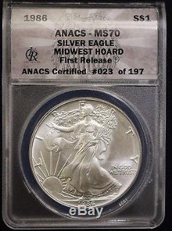 RARE 1986 American Silver Eagle Dollar ANACS MS70 MIDWEST HOARD FIRST RELEASE