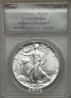 Rare 1987 Ase American Silver Eagle Anacs Ms70 First Strike