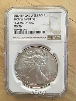 RARE 2008 W American Eagle Silver One $1 Dollar Reverse 2007 NGC MS 70 Coin