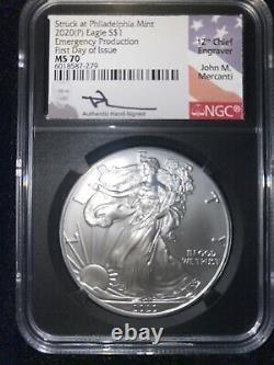 RARE Opportunity 2020 American Silver Eagle NGC MS70 Emergency Production FDI, P