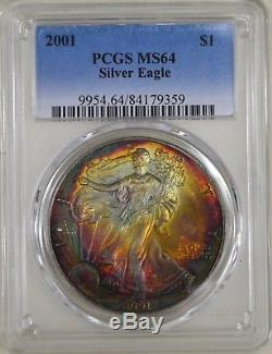Rainbow Toned 2001 American Silver Eagle ASE- PCGS MS64