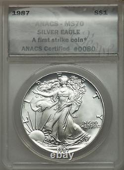 Rare 1987 Ase American Silver Eagle Anacs Ms70 First Strike