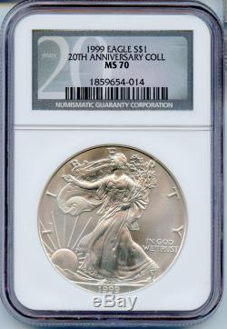 Rare 1999 NGC MS-70 20th Anniversary American Silver Eagle 1oz. Spot Free JE169