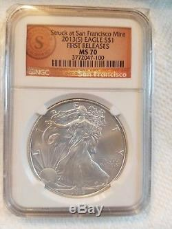 Rare 2013(S) American Silver Eagle 1st Rel, NGC MS70. Low pop