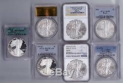 SEVEN (7) American Silver Eagle PCGS, NGC, ICG MS70 PR70 PR69 COINS Coin # N 395