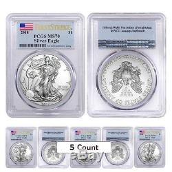Sale Price-Lot of 5 2018 1 oz Silver American Eagle $1 Coin PCGS MS 70 FS Flag