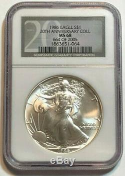 Set of 20 NGC MS 68 American Silver Eagles 1986-2005, 20 1 oz Fine Silver Eagles