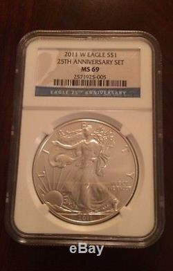 Silver American Eagle, 2011, 5 Piece, MS70/MS69/PF69 NGC, 25th Anniversary Set