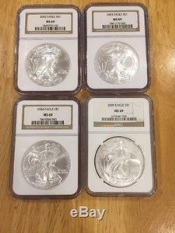 Silver American Eagle Set 1986 To 2016 31 Coins NGC MS69 HQ See Pic's