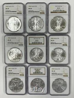 Silver American Eagle Set 33 Coins NGC MS69 1986-2018