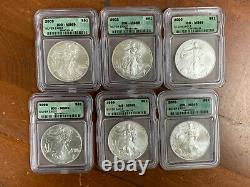 Silver American Eagle Set Of 18 1986-2003 ICG MS69