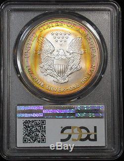 Spectacular 1998 PCGS MS67 Superb Gem Rainbow Target Toned American Silver Eagle