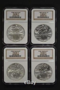 United States 1986-2005 American Silver Eagle $1 20 Coin Set NGC MS69